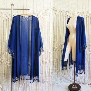 {euc} Sheer Chiffon Oversize Tassel Boho Kimono 🌙